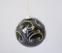 BLACK AND GOLD SWIRL PATTERN GLASS BALL (6)