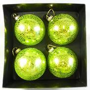 SET4 METALIC GREEN CRACKLE BAUBLE