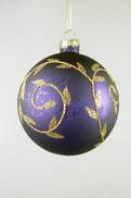 PURPLE GLASS BALL HANGER WITH GOLD DECORATION (12)