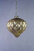 AGED GOLD GLASS ONION HANGER WITH GOLD DECORATION