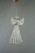 CLEAR / SILVER SPUN GLASS ANGEL HANGER PYRAMID BASE