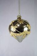 GOLD GLASS ONION WITH GOLD BEAD DECORATION