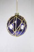 ROYAL BLUE GLASS BALL WITH GOLD LINE DESIGN (12)