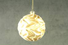 8CMD GOLD GLASS BALL WITH WAVY WHITE LINES
