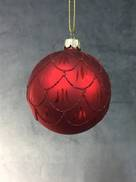 RED GLASS BALL WITH BURGUNDY SCALLOPED GLITTER PATTERN (6)