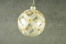 CLEAR GLASS BALL WITH GOLD PATTERN AND GOLD GEMS