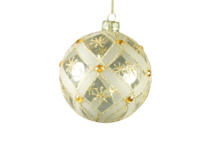 CLEAR GLASS BALL WITH GOLD PATTERN AND GOLD GEMS (6)
