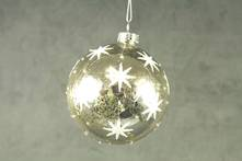 8CMD MERCURY GLASS BALL WITH WHITE STARS