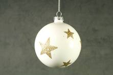 8CMD WHITE GLASS BALL WITH GOLD GLITTER STARS