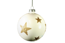 8CMD WHITE GLASS BALL WITH GOLD GLITTER STARS  (6)