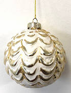 WHITE PAINTED GLASS BALL WITH GOLD RAISED SCALLOPS (6)