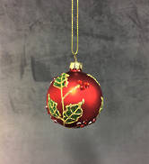 6CMD RED GLASS BALL WITH HOLLY PATTERN