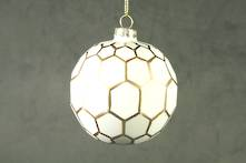 8CMD WHITE PAINTED GLASS BALL WITH GOLD POLYGON OUTLINES