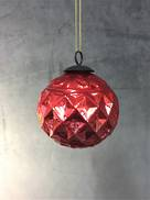 8CMD RED DIAMOND PATTERN GLASS BALL