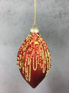 RED GLASS ONION WITH GOLD GLITTER