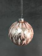 PINK GLASS ICE EFFECT BALL (6)