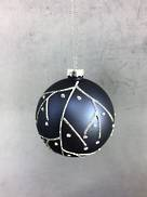 GREY/BLUE GLASS BALL WITH SILVER DECORATIONS (6)