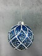 GREY/BLUE GLASS BALL WITH WHITE DIAMOND PATTERN (6)