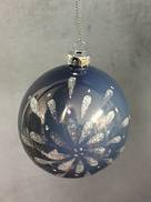 GREY/BLUE GLASS BALL WITH SILVER FLOWER (6)