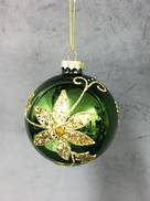 GREEN GLASS BALL WITH GOLD FLOWER