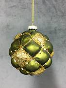 GREEN / GOLD GLASS DIMPLED BALL (6)