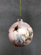 PINK GLASS BALL WITH SILVER STARS