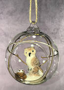 HANGING GLASS BALL WITH OWL