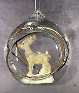 HANGING GLASS BALL WITH DEER