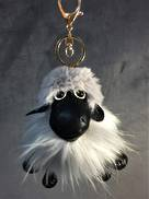 LIGHT GREY SHEEP KEYRING