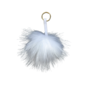 WHITE FLUFFY BALL KEYRING