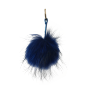 NAVY BLUE FLUFFY BALL KEYRING