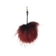 RED/BLACK FLUFFY BALL KEYRING