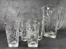 SUN JUG AND 6  GLASSES