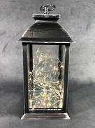 AGED SILVER LANTERN WITH BATTERY LIGHTS