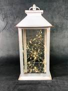 AGED WHITE LANTERN WITH BATTERY LIGHTS