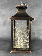 AGED COPPER LANTERN WITH CONCAVE  TOP BATTERY LIGHTS
