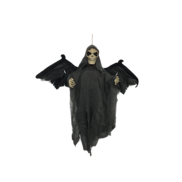 GREY BAT SKULL WITH FLAPPING WINGS