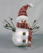 27CMH LIGHT UP SNOWMAN WITH RED HAT AND SCARF