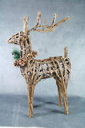STANDING WICKER DEER WITH COLLAR