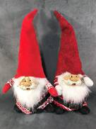 45CMH, PAIR RED AND WHITE SITTING SANTA GONKS