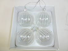 SET4 CLEAR GLASS BAUBLES W/ SNOW STRIPES