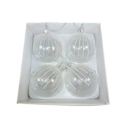 BOXED SET4 CLEAR GLASS BAUBLES W/ SNOW STRIPES