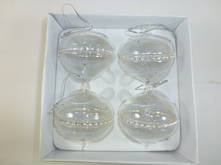 SET 4 CLEAR GLASS W/STUDDED BAND