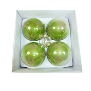 BOXED SET4 FADED GREEN GLASS BAUBLE