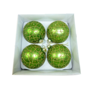 BOXED SET 4 GREEN WITH GOLD GLITTER HANGERS