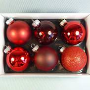 6 SMALL MULTI TEXTURED RED GLASS BAUBLES