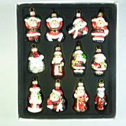 SET12 GLASS HANGING SANTAS