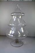 LARGE GLASS CHRISTMAS TREE BISCUIT BARREL