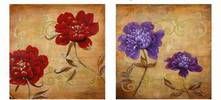 RED & PURPLE AGED FLORAL PAINTING