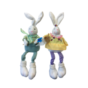 PAIR BOY/GIRL DANGLY LEG WHITE BUNNIES